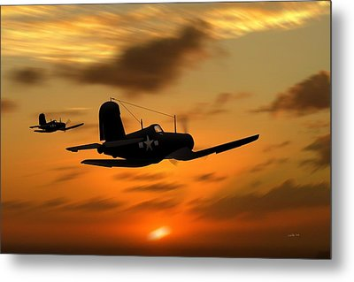 Vought Corsairs At Sunset Metal Print by John Wills