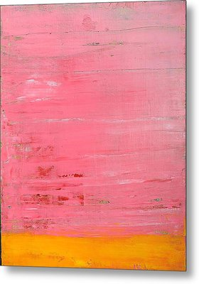 Pink Oil On Board 16 X 20 Metal Print by Radoslaw Zipper