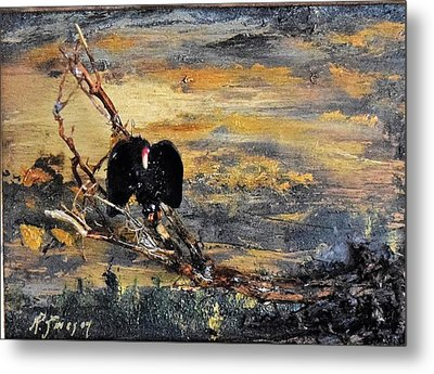 Vulture With Oncoming Storm Metal Print