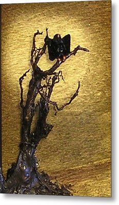 Vulture With Textured Sun Metal Print