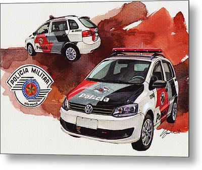 Vw Spacebox  Military Police Car Metal Print by Yoshiharu Miyakawa