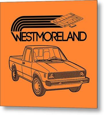 Vw Rabbit Pickup - Westmoreland Theme - Black Metal Print