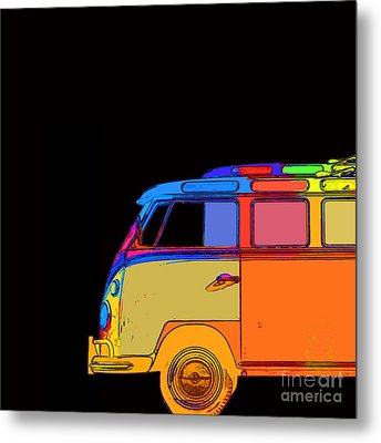 Vw Surfer Bus Square Metal Print