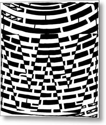 W Maze Metal Print by Yonatan Frimer Maze Artist