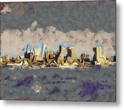 Metal Print featuring the mixed media Wacky Philly Skyline by Trish Tritz