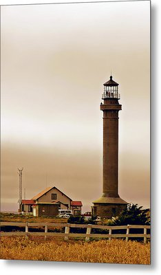 Wacky Weather At Point Arena Lighthouse - California Metal Print by Christine Till