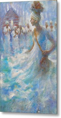 Metal Print featuring the painting Wade In The Water by Gertrude Palmer