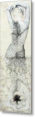 Wader With Lotus Flower Metal Print