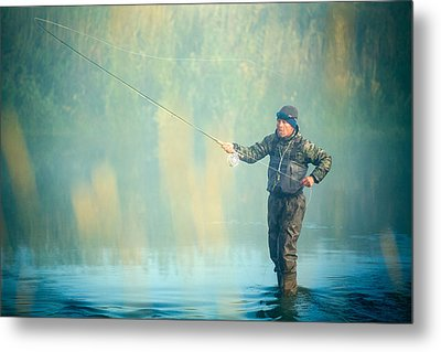 Wading For Trout Metal Print