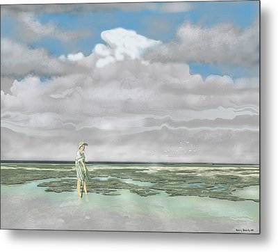 Metal Print featuring the digital art Wading The Salt Flats by Kerry Beverly