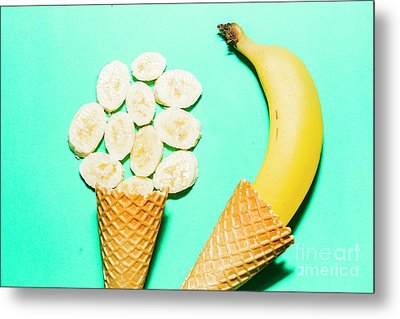 Waffle Cones With Fresh Banana Metal Print by Jorgo Photography - Wall Art Gallery