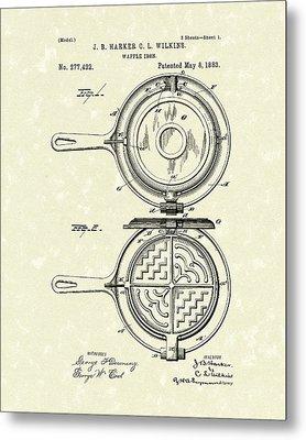 Waffle Iron 1883 Patent Art Metal Print