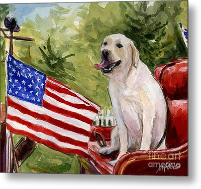 Metal Print featuring the painting Wag The Flag by Molly Poole