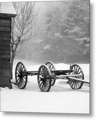 Wagon In Winter Metal Print