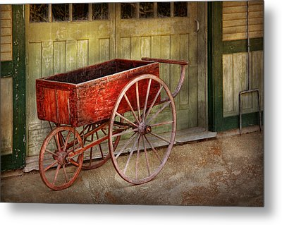 Wagon - That Old Red Wagon  Metal Print by Mike Savad