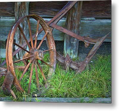 Metal Print featuring the photograph Wagon Wheel And Fence by David and Carol Kelly