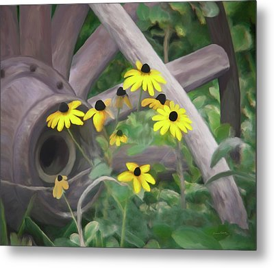 Wagon Wheel Metal Print by Ernie Echols