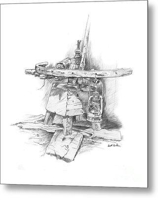 Wagon Wheel Work Bench Metal Print