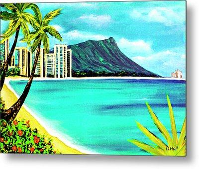 Waikiki Beach And Diamond Head #150 Metal Print by Donald k Hall