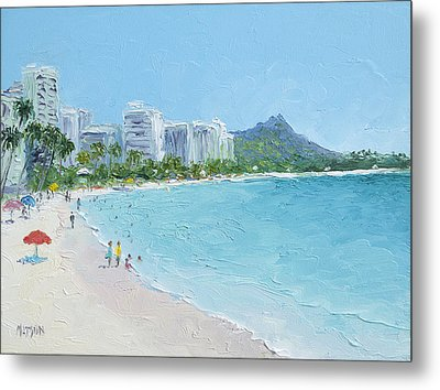 Waikiki Beach Honolulu Hawaii Metal Print