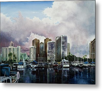 Metal Print featuring the painting Waikiki Beach Marina by Michael Frank
