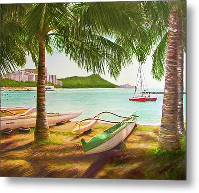 Waikiki Beach Outrigger Canoes 344 Metal Print by Donald k Hall