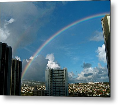 Metal Print featuring the photograph Waikiki Rainbow by Anthony Baatz