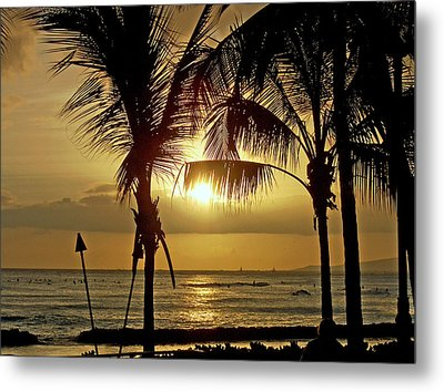 Waikiki Sunset Metal Print by Anthony Baatz