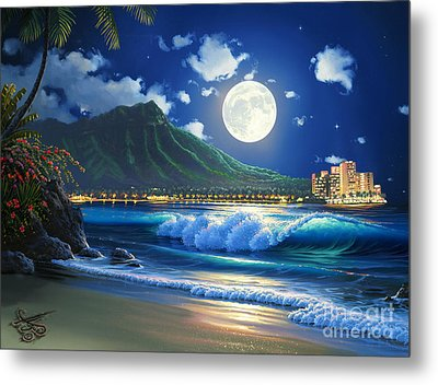 Waikiki Surf Aglow Metal Print