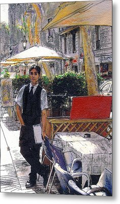Waiter On La Rambla Metal Print