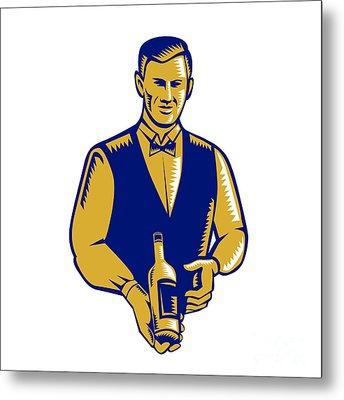Waiter Presenting Wine Bottle Woodcut Metal Print by Aloysius Patrimonio