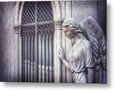 Waiting Angel In Prazeres Lisbon Metal Print