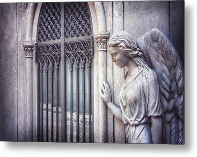 Waiting Angel In Prazeres Lisbon Metal Print by Carol Japp