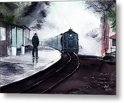 Metal Print featuring the painting Waiting by Anil Nene