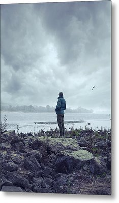 Waiting By The Shore Metal Print by Art of Invi