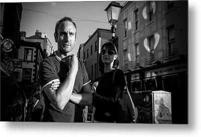 Waiting - Dublin, Ireland - Black And White Street Photography Metal Print