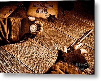 Waiting For High Noon - Sepia Metal Print by Olivier Le Queinec