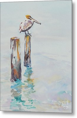 Metal Print featuring the painting Waiting For Lunch by Mary Haley-Rocks