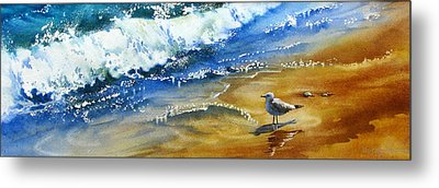 Waiting-for-the-wave Metal Print by Nancy Newman