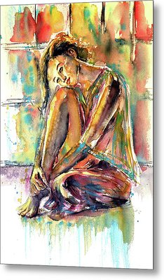 Metal Print featuring the painting Waiting For You by Kovacs Anna Brigitta