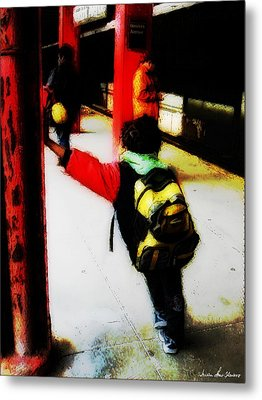 Metal Print featuring the photograph Waiting On The Q Train In Flatbush by Iowan Stone-Flowers