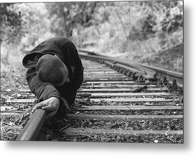 Waiting On The Rails Metal Print