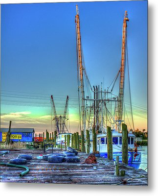 Metal Print featuring the photograph Waiting Shrimp Boats Wilmington River Tybee Island Georgia Art by Reid Callaway