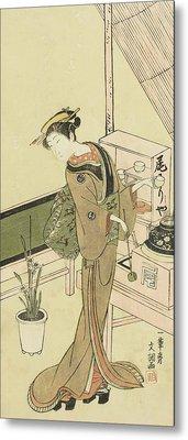 Waitress At The Owariya Teahouse Metal Print by Ippitsusai Buncho