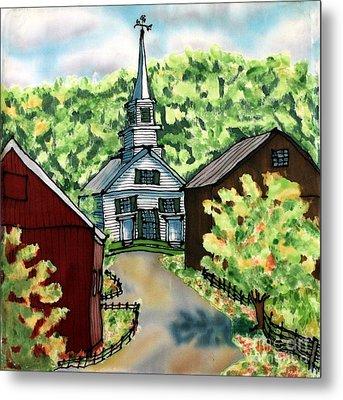 Waits River Church Metal Print by Linda Marcille