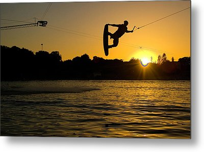 Wakeboarder At Sunset Metal Print by Andreas Mohaupt