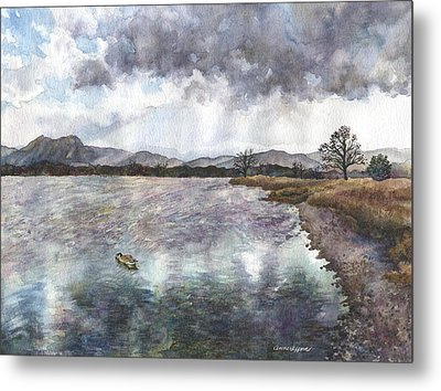 Metal Print featuring the painting Walden Ponds On An April Evening by Anne Gifford