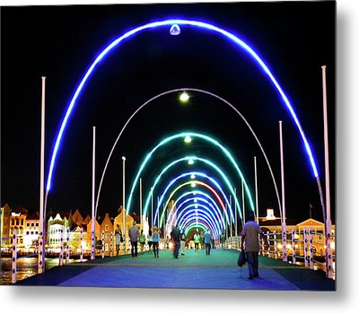 Metal Print featuring the photograph Walk Along The Floating Bridge, Willemstad, Curacao by Kurt Van Wagner