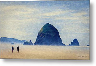 Metal Print featuring the painting Walk On The Beach by Jeff Kolker