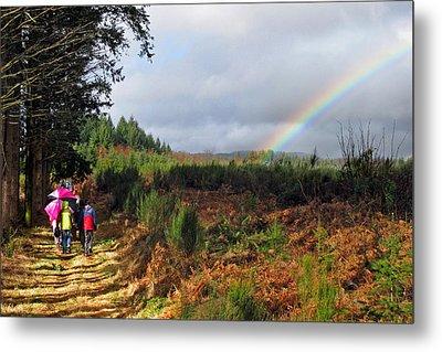 Walkers With Rainbow Metal Print